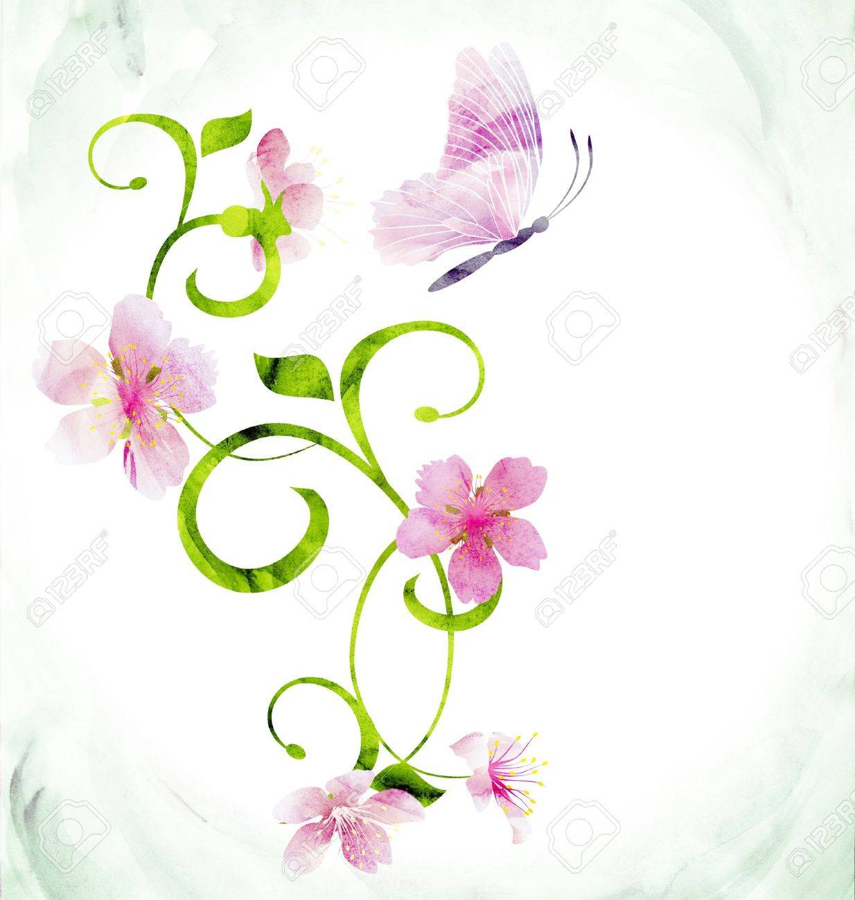 red pink butterfly curves CG watercolor illustration Stock Illustration - 14390065