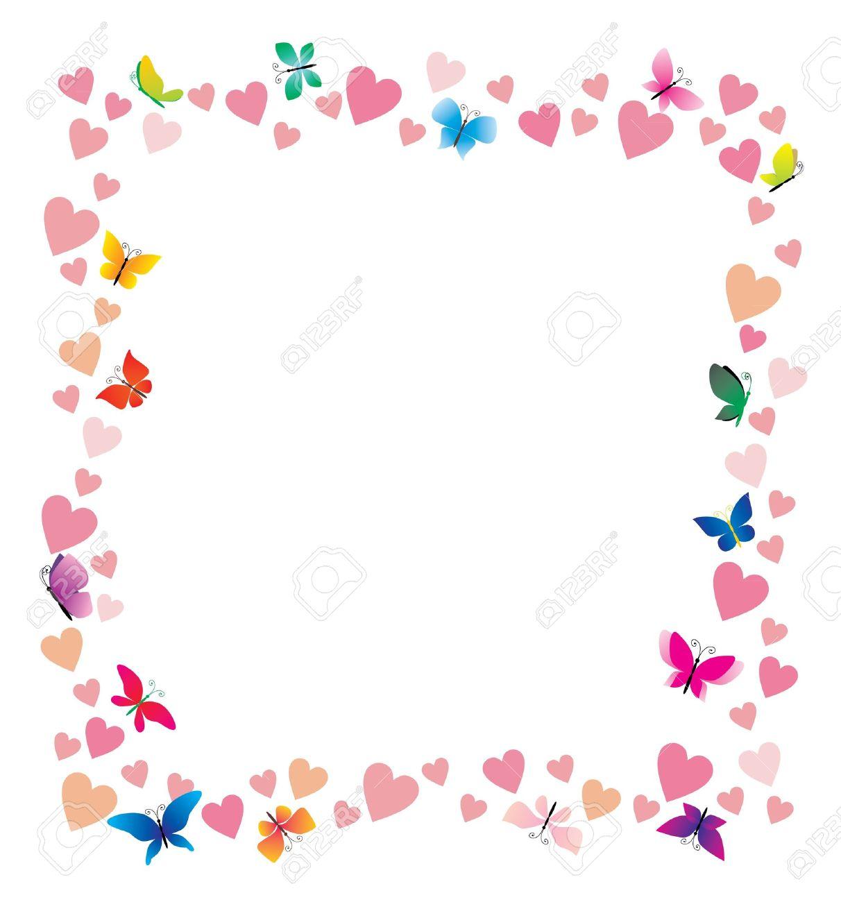 Vektor-Herzen Und Schmetterlinge Cartoon Rahmen Auf Weißem ...