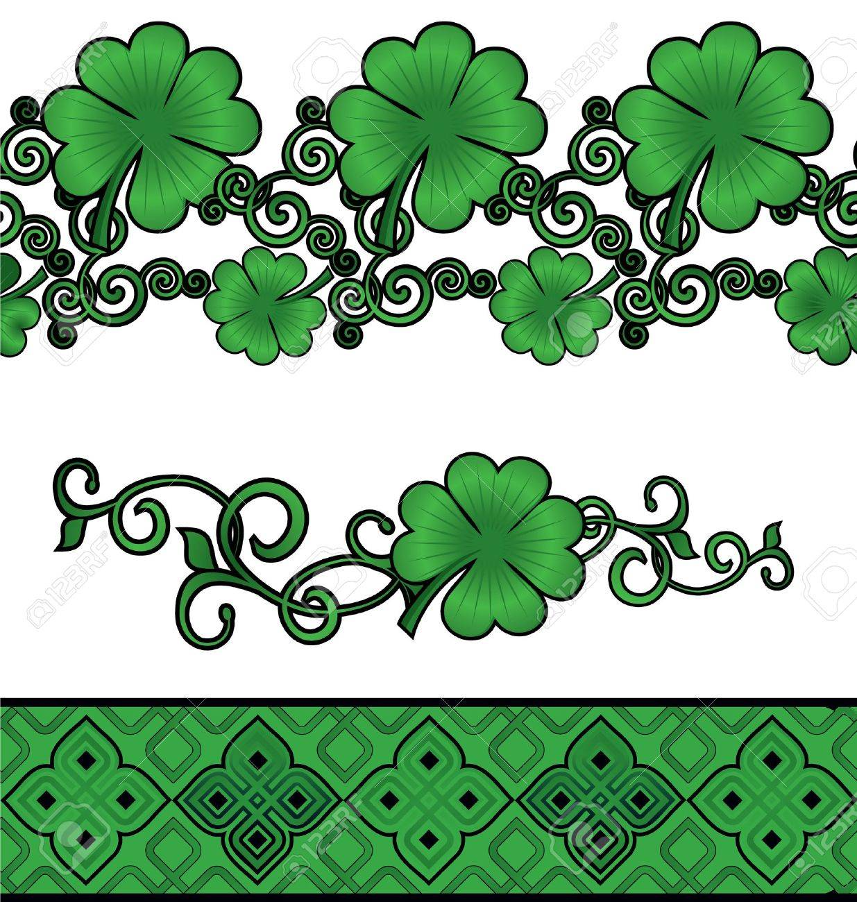 Vector green Patrick's day shamrock or clover decor borders set isolated on white Stock Photo - 14821229