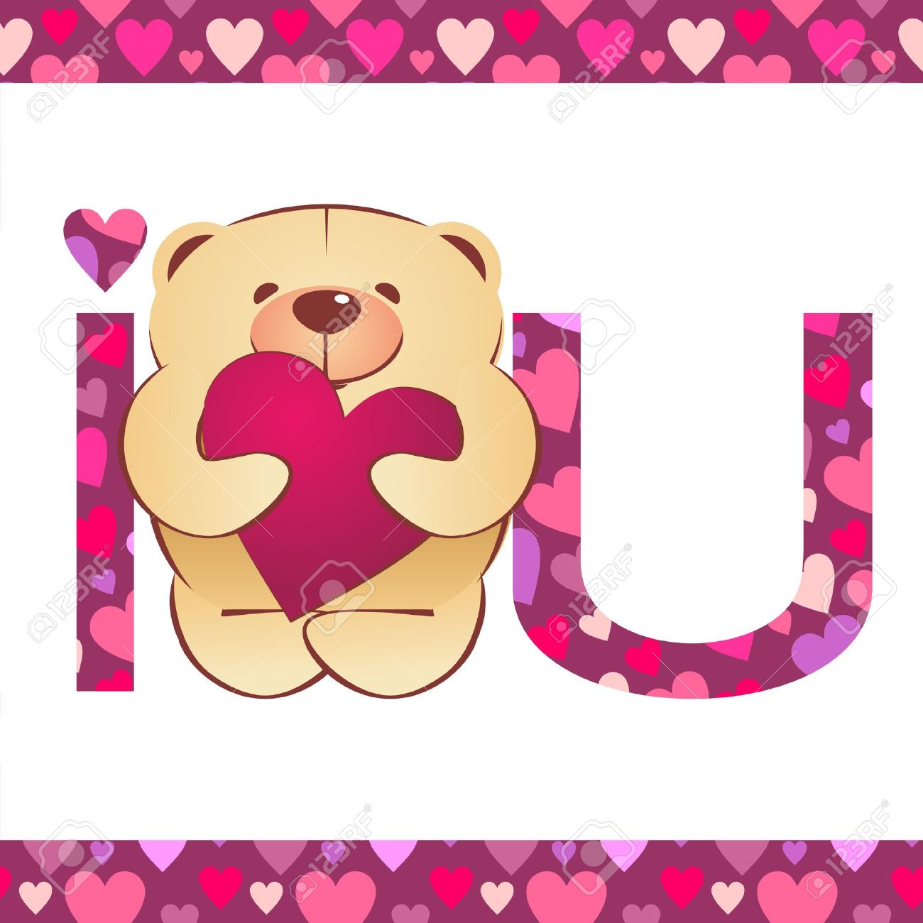 Teddy bear with heart and i love you text on white background stock photo teddy bear with heart and i love you text on white background with hearts border voltagebd Gallery