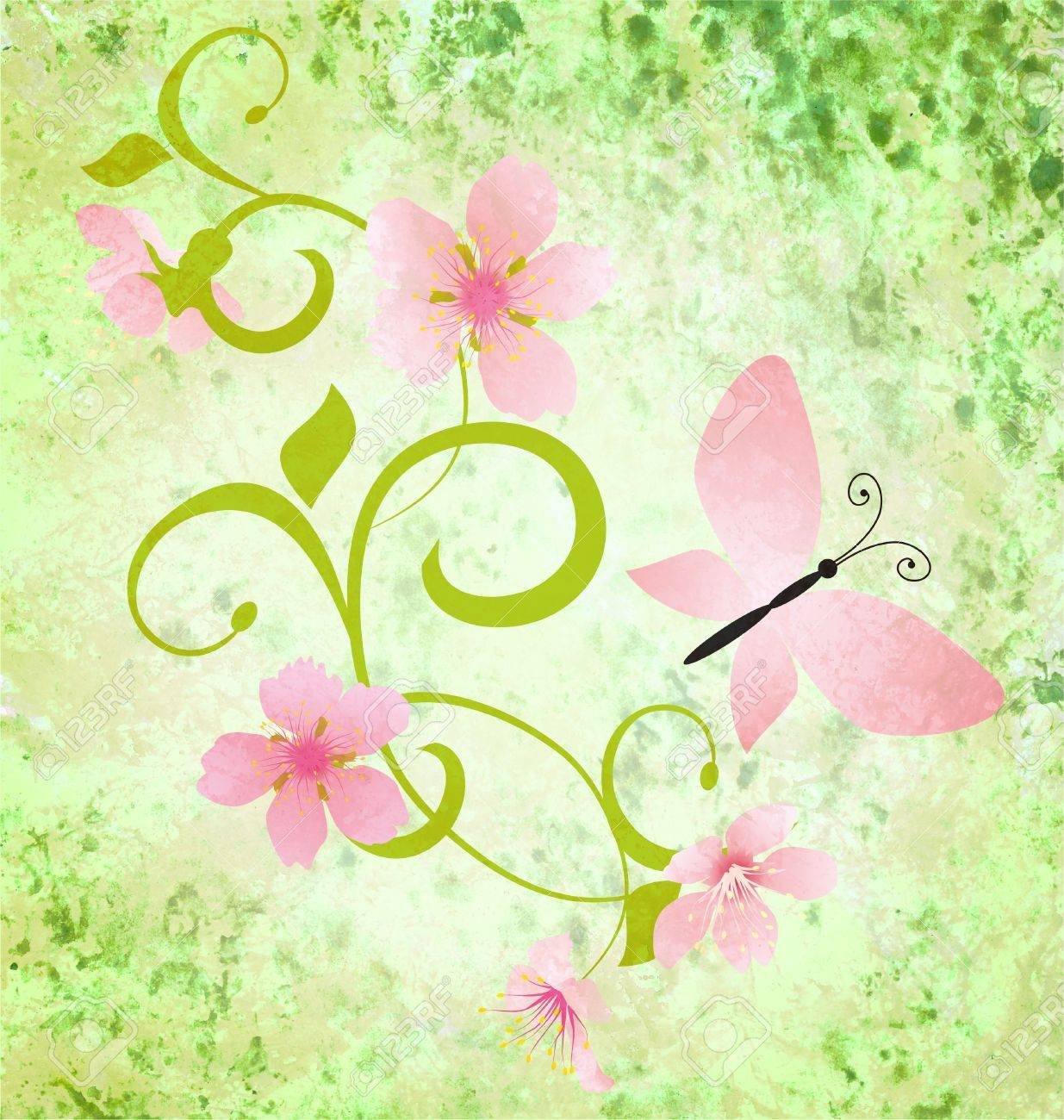 spring green grunge background with pink flowers and butterflies Stock Photo - 14821186
