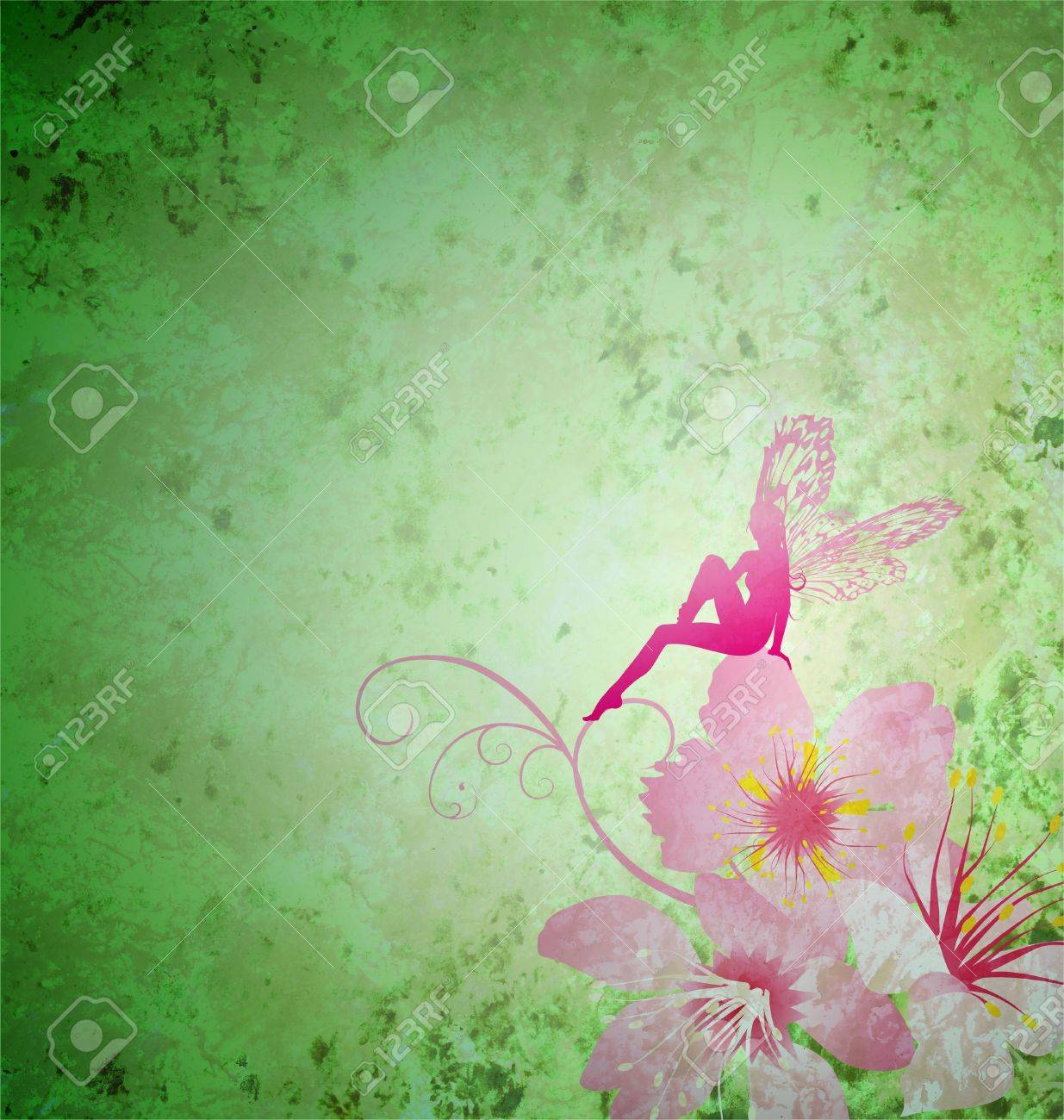 pink little flower fairy on the green spring or summer grunge background Stock Photo - 14821145