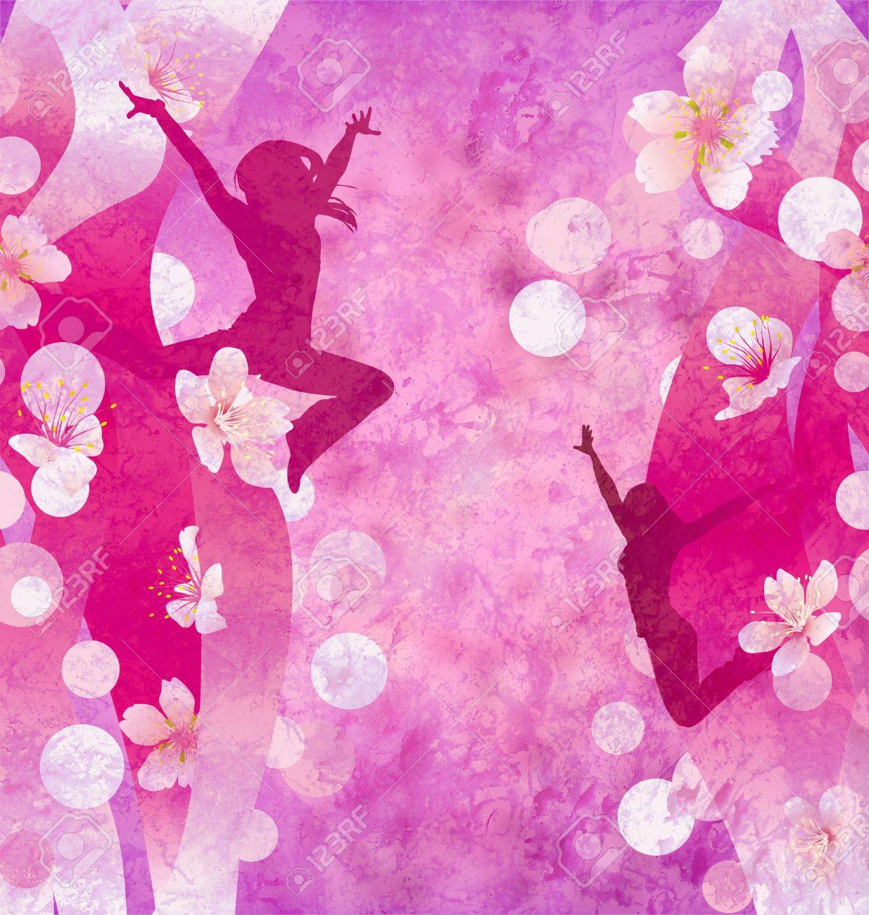 three urban modern dancing women silhuettes on the red or pink grunge background Stock Photo - 14821208