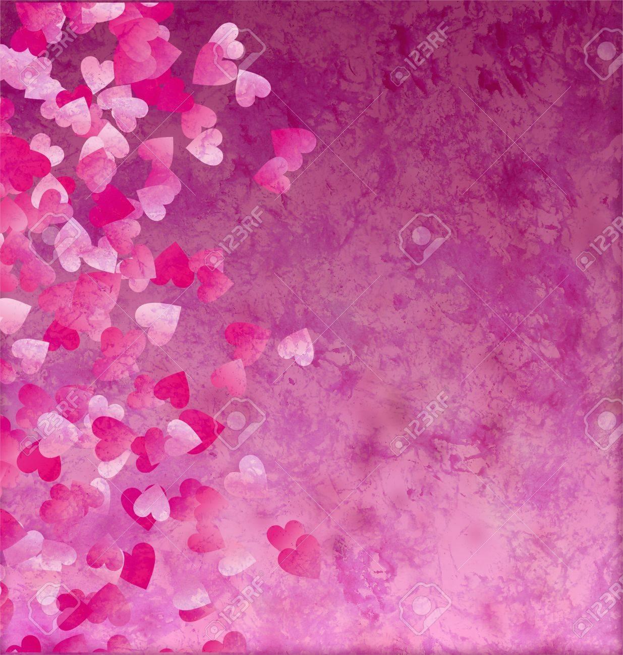 little hearts side grunge vintage paper background Stock Photo - 14821063