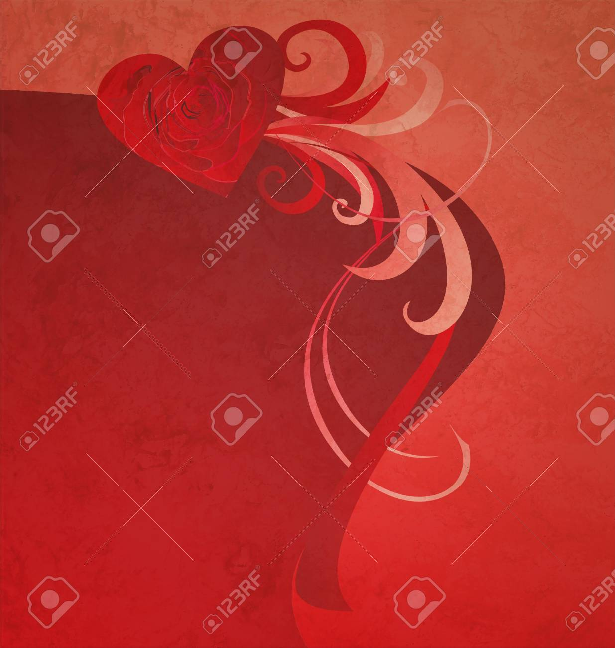 red heart with red rose grunge abstract background for love and wedding neeeds Stock Photo - 14820853