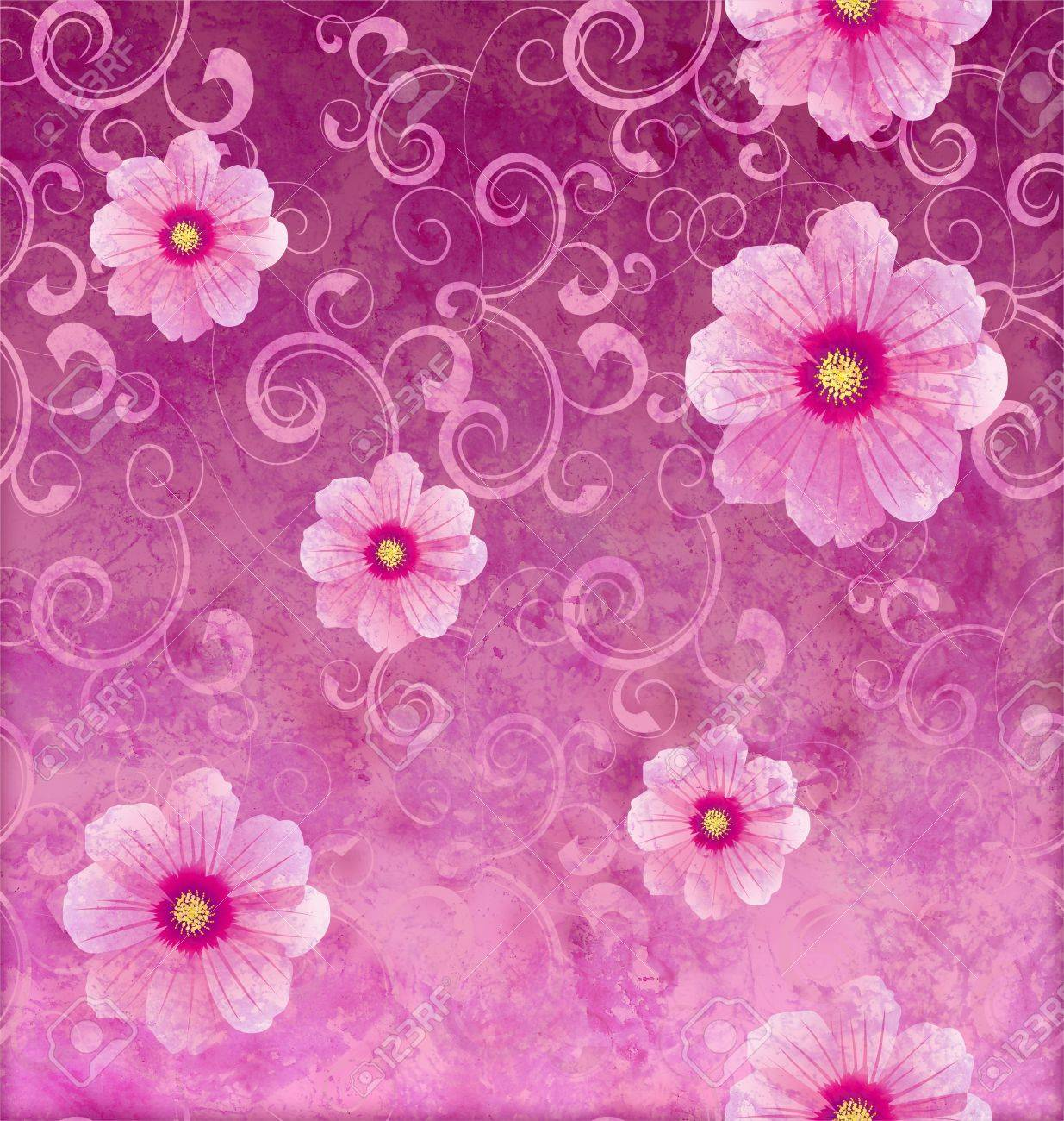 Pink Flowers Romantic Spring Vintage Background Love And Cute Stock