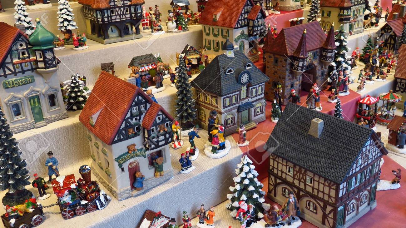 Christmas Houses.Decorative Miniature Houses At Christmas Market