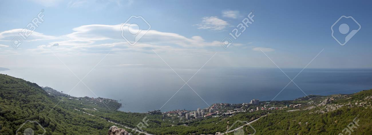 Landscape of seashore near a settlement Foros Stock Photo - 5298424
