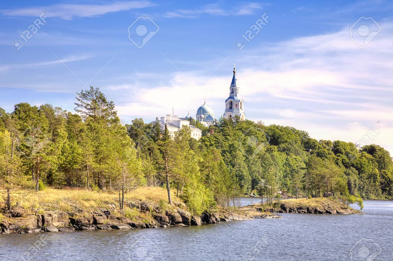 View of the coast of the island of Valaam and the dome of the Orthodox church Stock Photo - 25039203