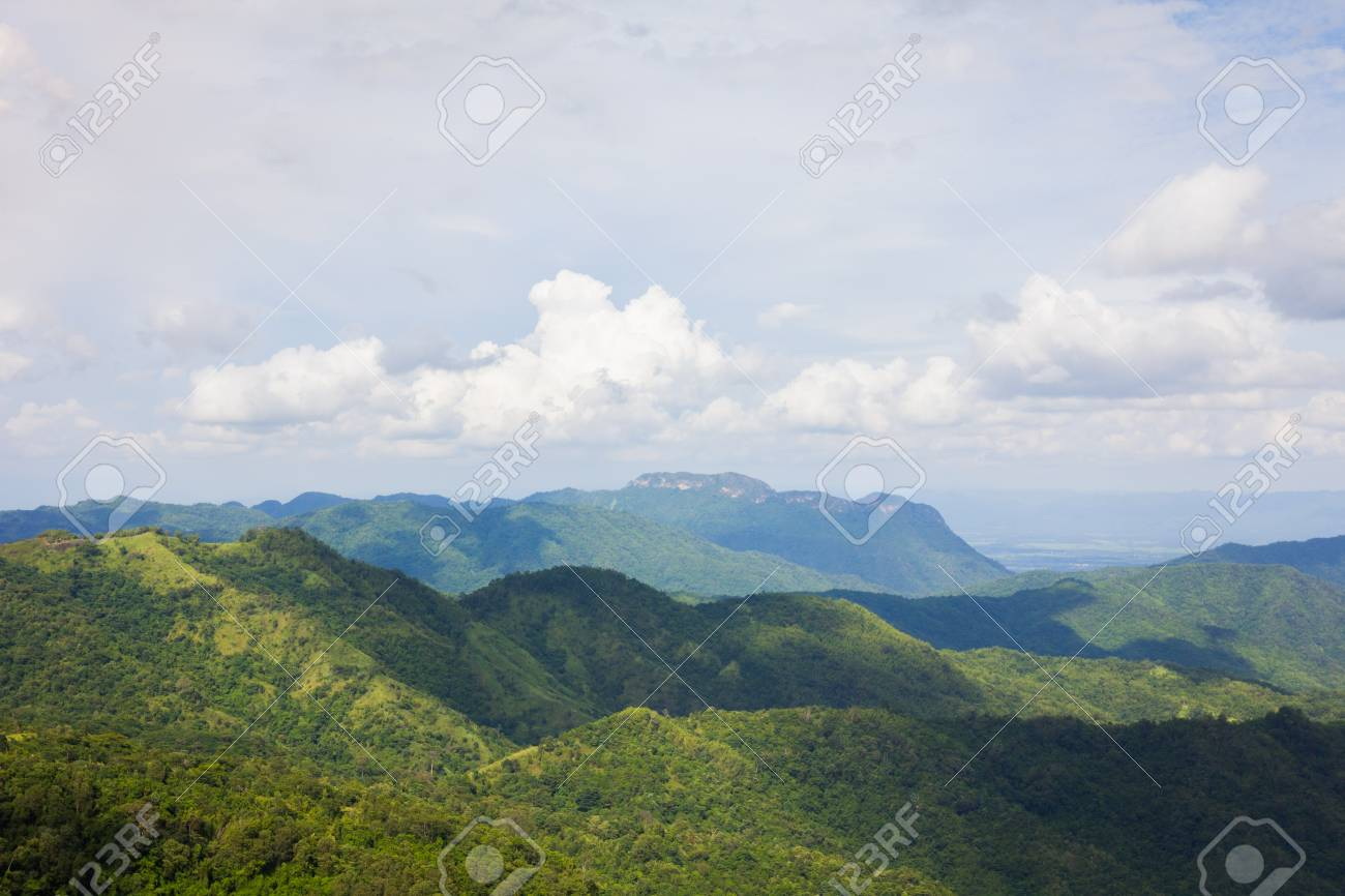 Beautiful mountain landscape. Forest and a cloudy sky, select focus - 44897662