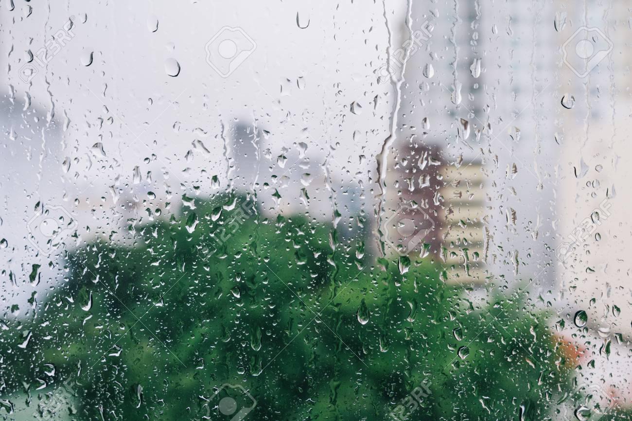 Drops of rain on window, background - 45127766