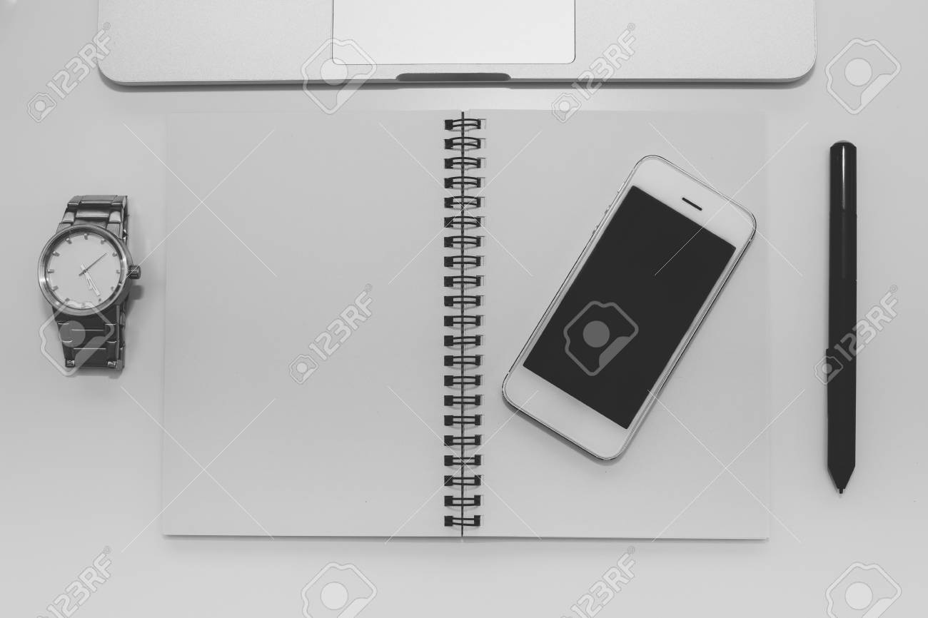 Workspace with laptop, notebook and mobile on white background,Work space for designer or hipster style,black and white - 60536105
