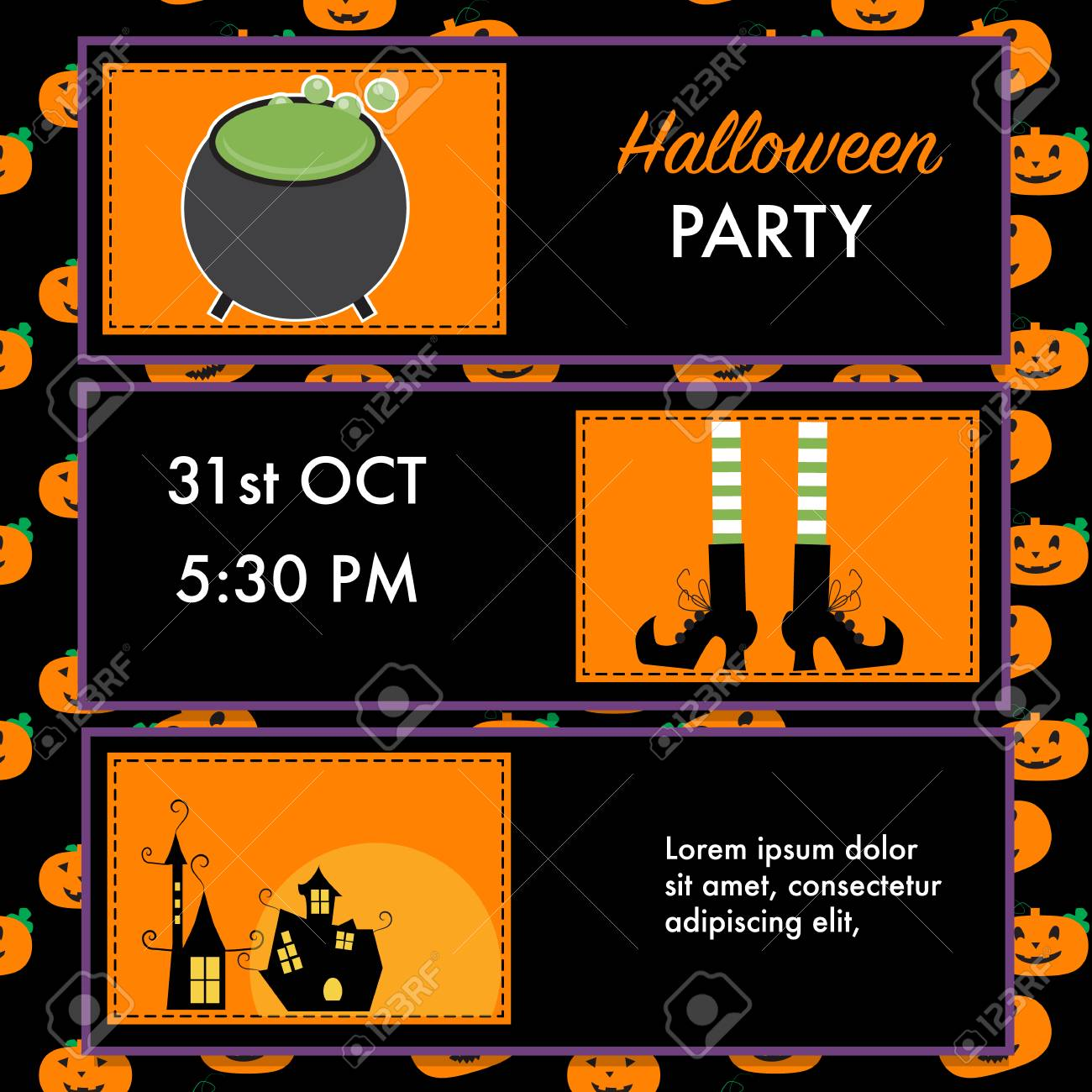 Halloween Party Invitation Cards Witch Character