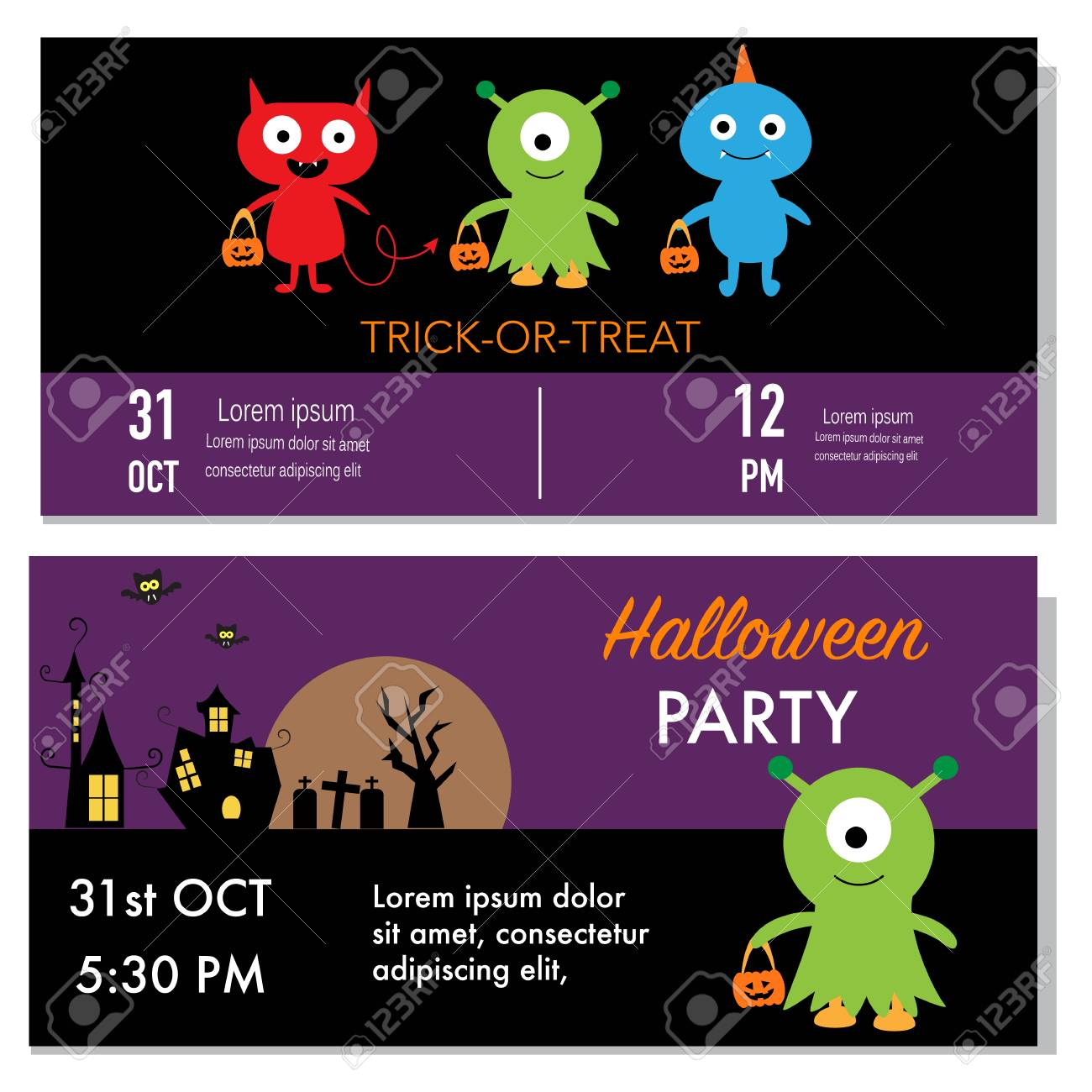 Halloween party invitation cards monster character royalty free halloween party invitation cards monster character stock vector 46958842 stopboris Images