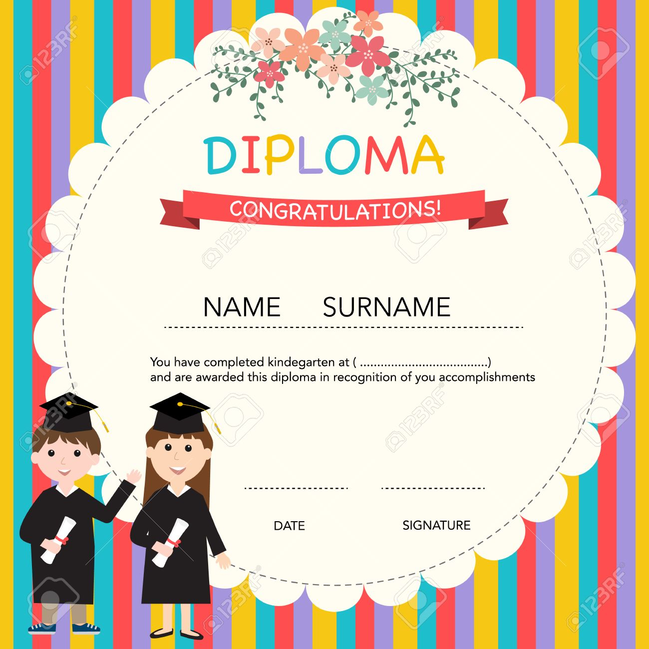Kids certificate template eliolera certificate of kids diploma preschool kindergarten template yadclub Choice Image