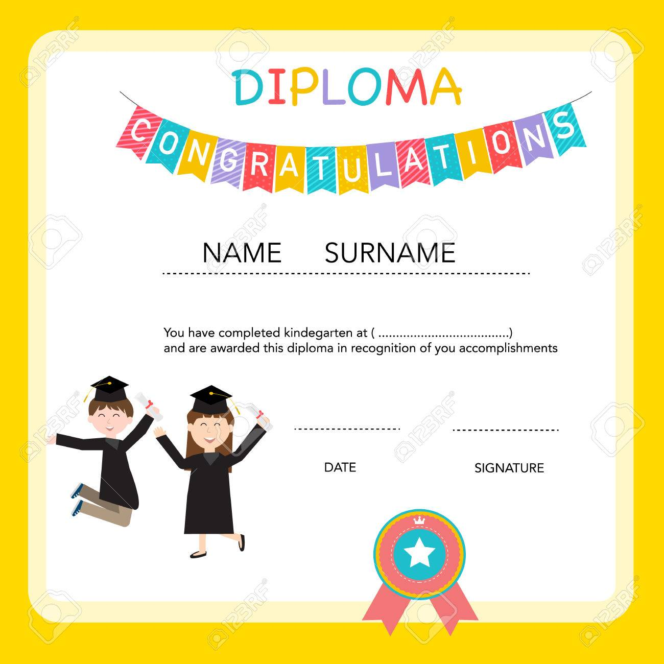 Certificate of kids diploma preschool kindergarten template certificate of kids diploma preschool kindergarten template background stock vector 52064371 yelopaper Image collections