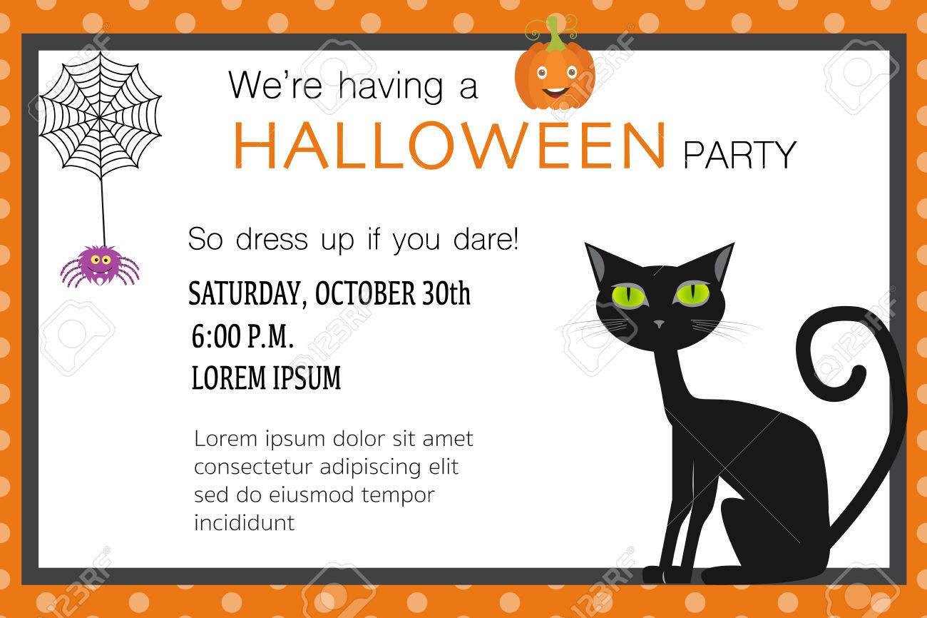 Halloween Party Invitation Cards Spider Web Background With ...