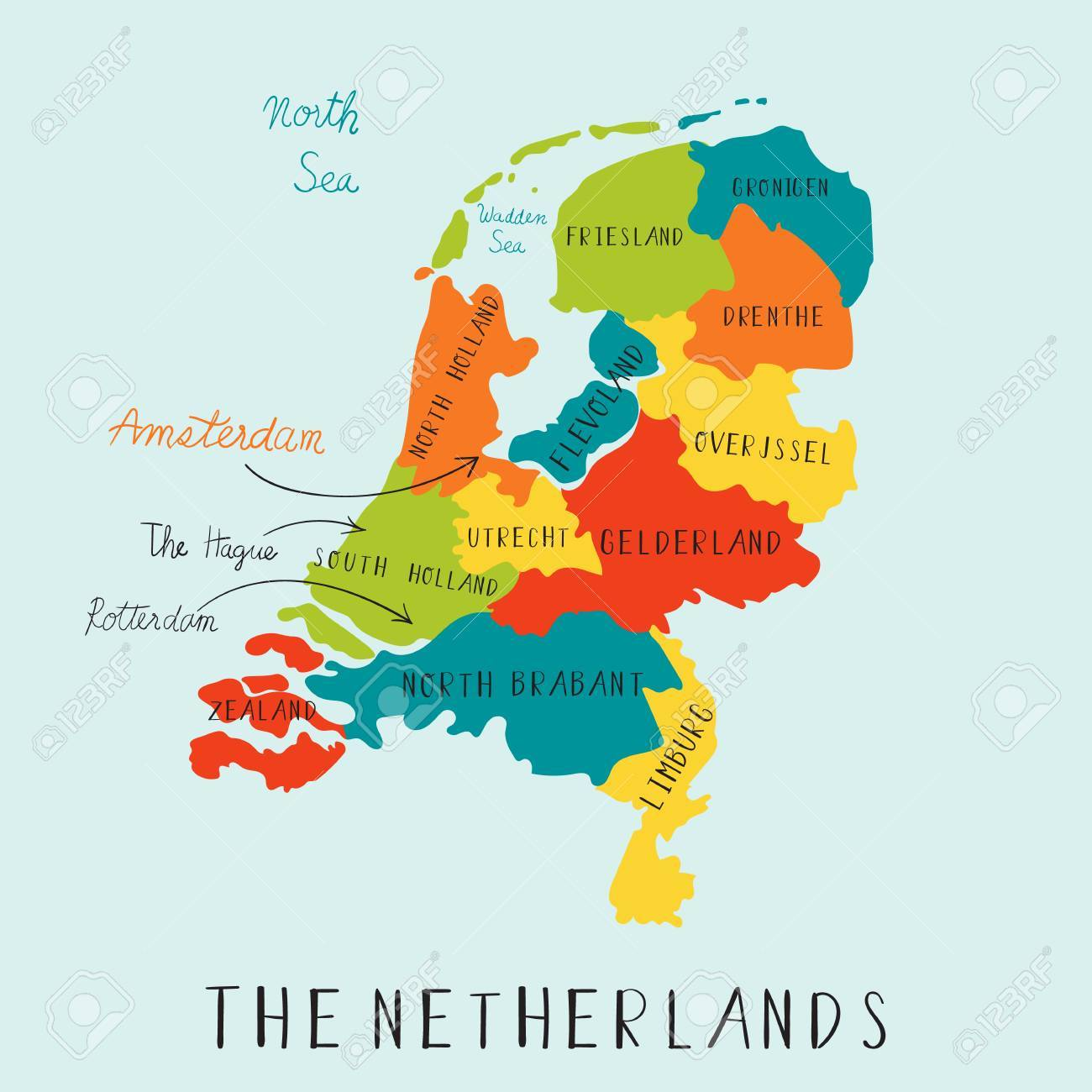 The Netherland maps hand drawing.illustration vector EPS 10 - 80047635