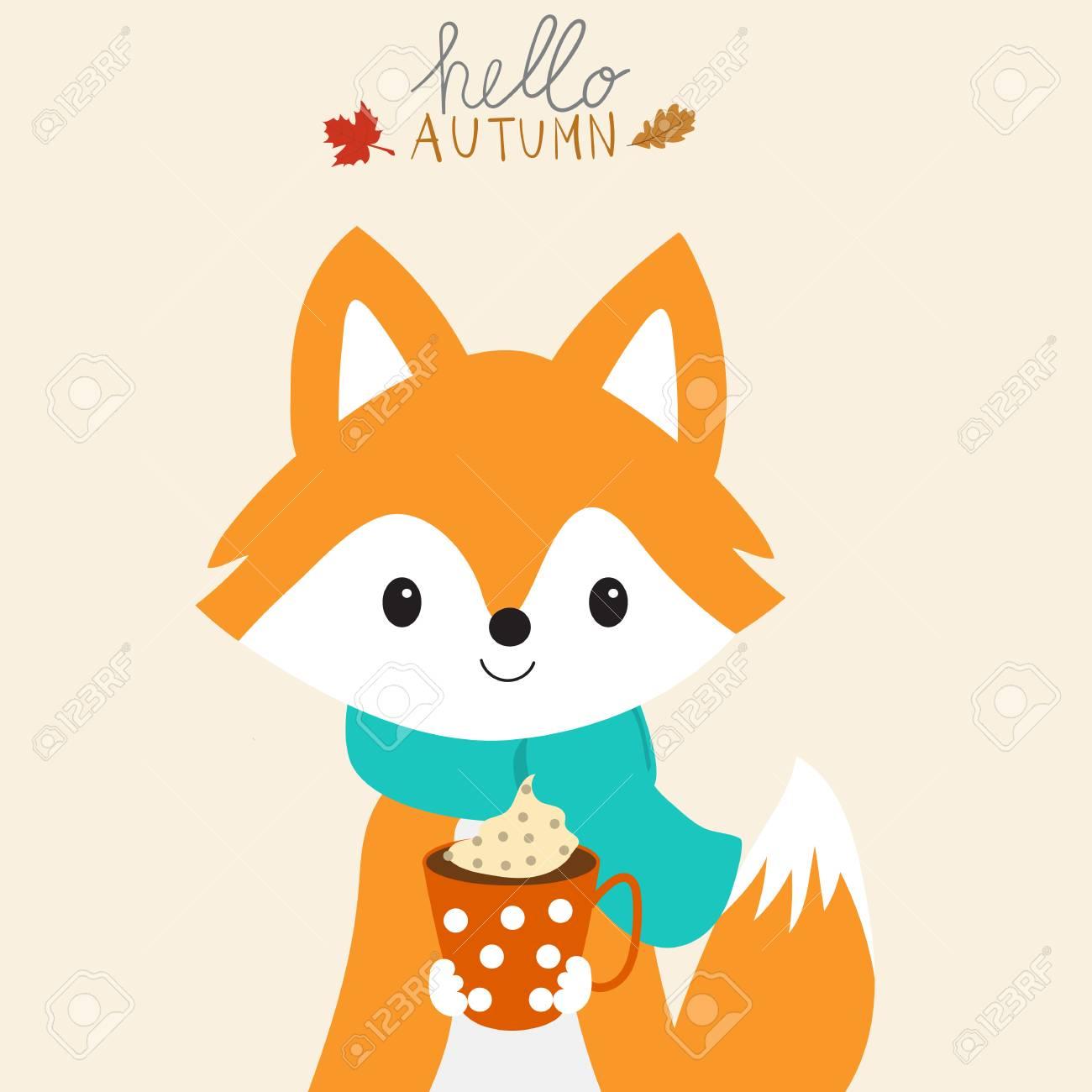 Little fox with a cup of warm milk autumn season.illustration EPS 10. - 88078709