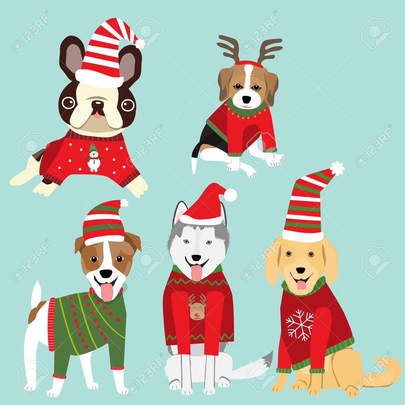 Christmas Sweaters For Dogs.Dogs In Christmas Sweater Celebret For Winter Greeting Season Illustration Eps10