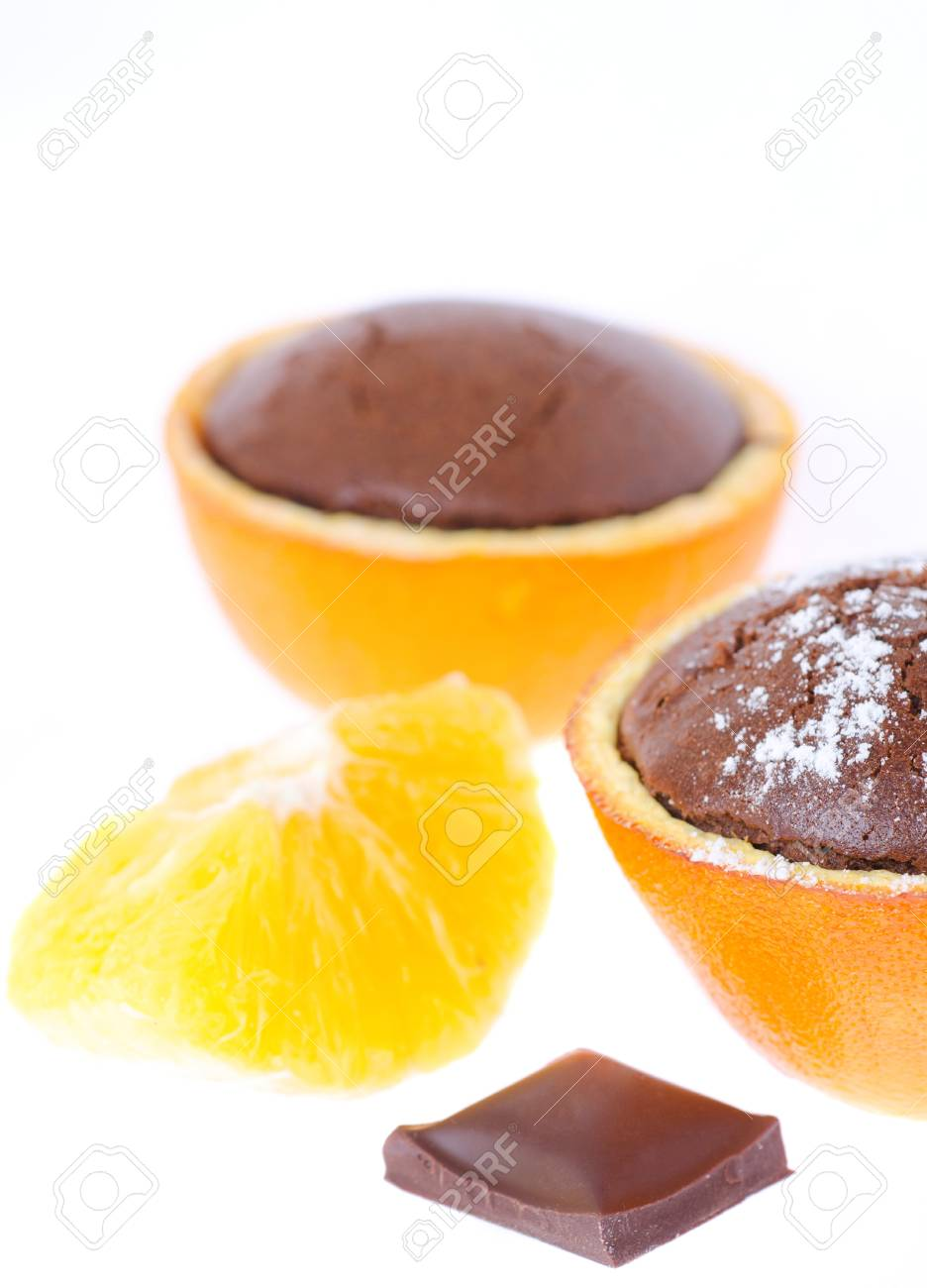 a souffle in orange with powder sugar and chocolate Stock Photo - 13706824