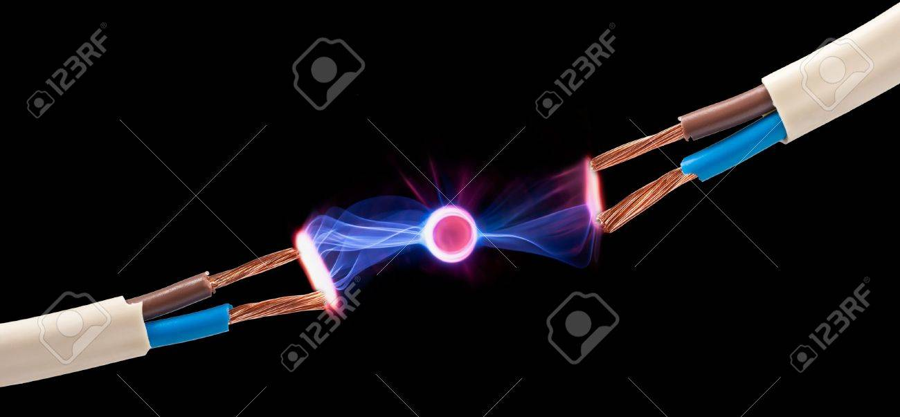 electrical spark between two pair of  wires Stock Photo - 13706825