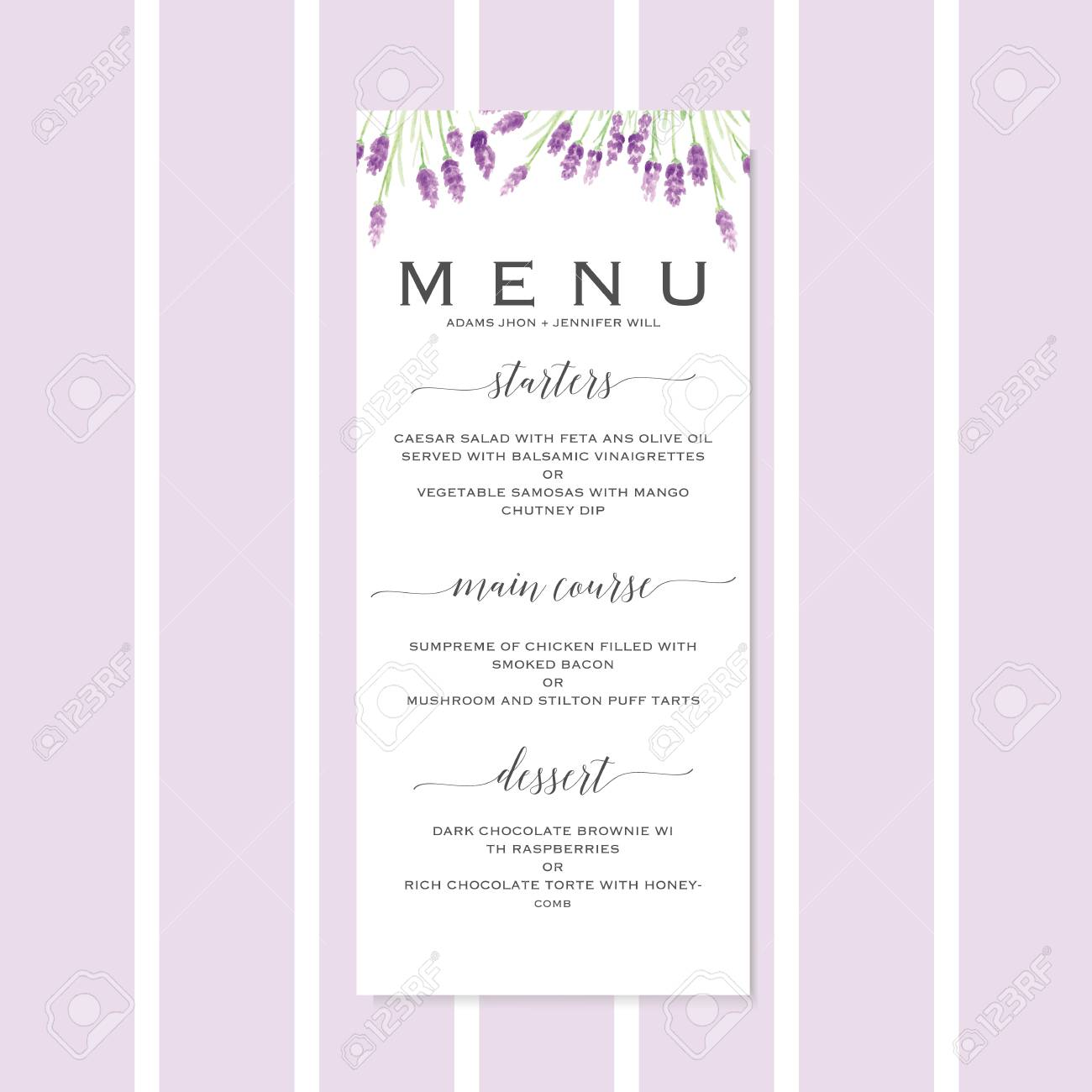 Wedding Menu Template.Stock Illustration