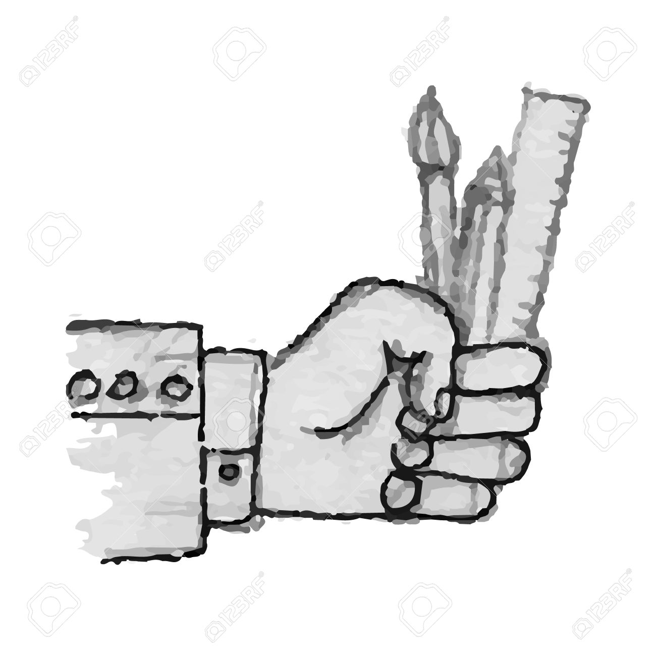 Sketch watercolor hand holding a brush ruler and pencil stock vector 35425372