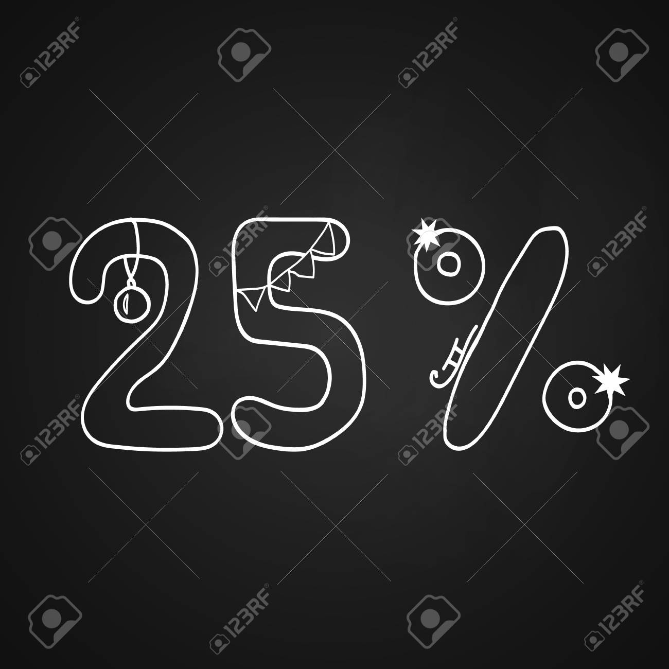 Vector Christmas Sale Symbol For 25 Discount On The Chalkboard