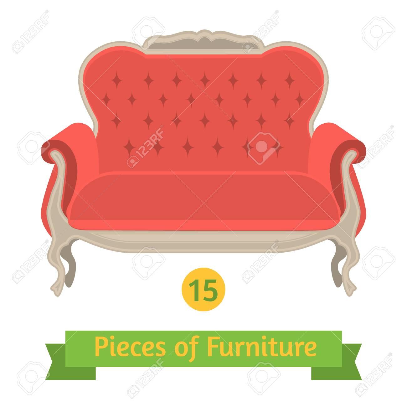 Vektor Mobel Antike Sofa Barock Flache Bauform Lizenzfrei