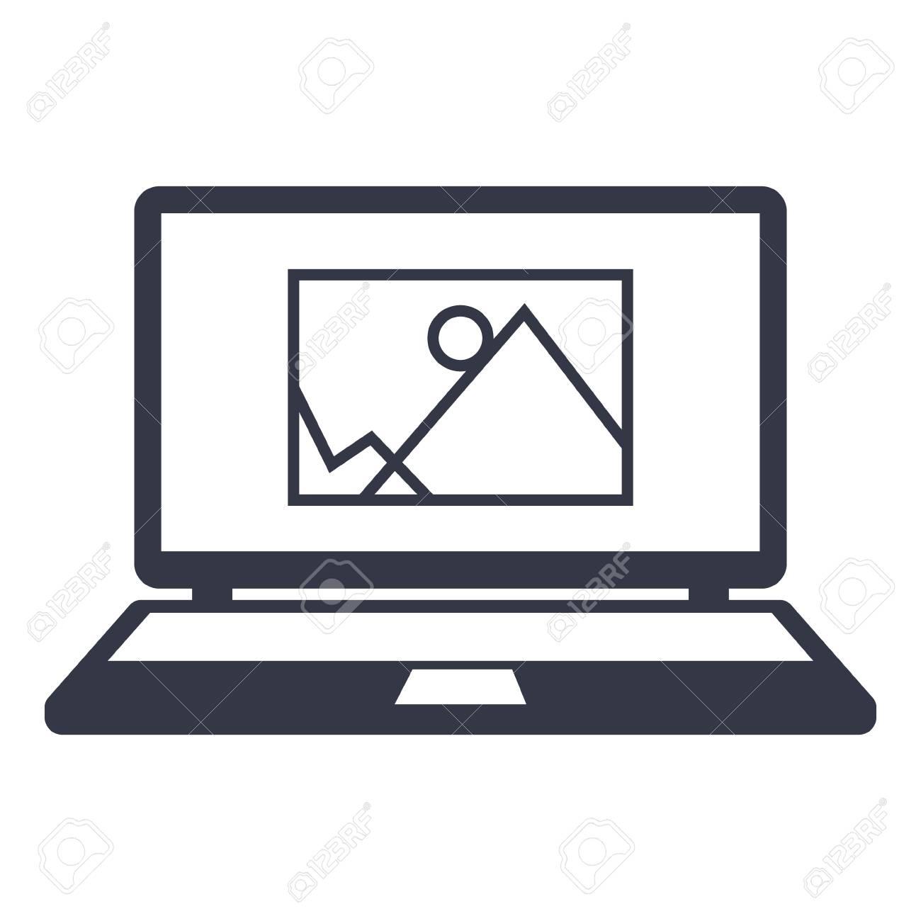 Icône informations d image. dessin sur l écran d un ordinateur portable 906a52e0871b
