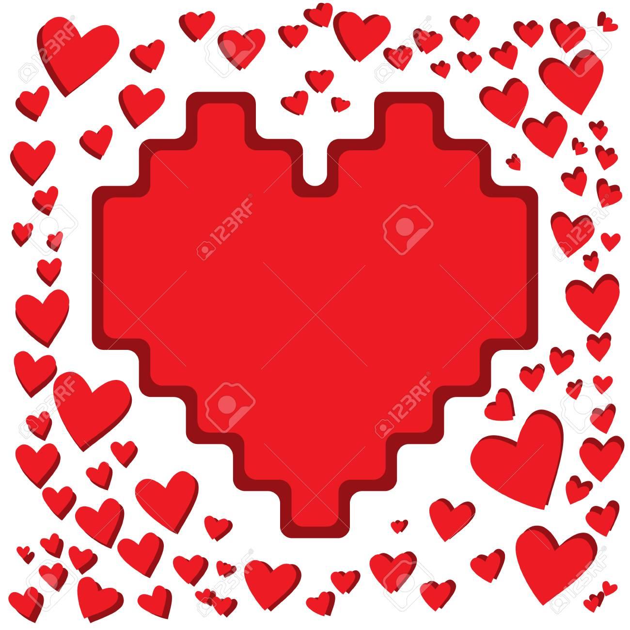Un Gran Corazón. Marco Para Las Tarjetas De Felicitación Para El Día ...