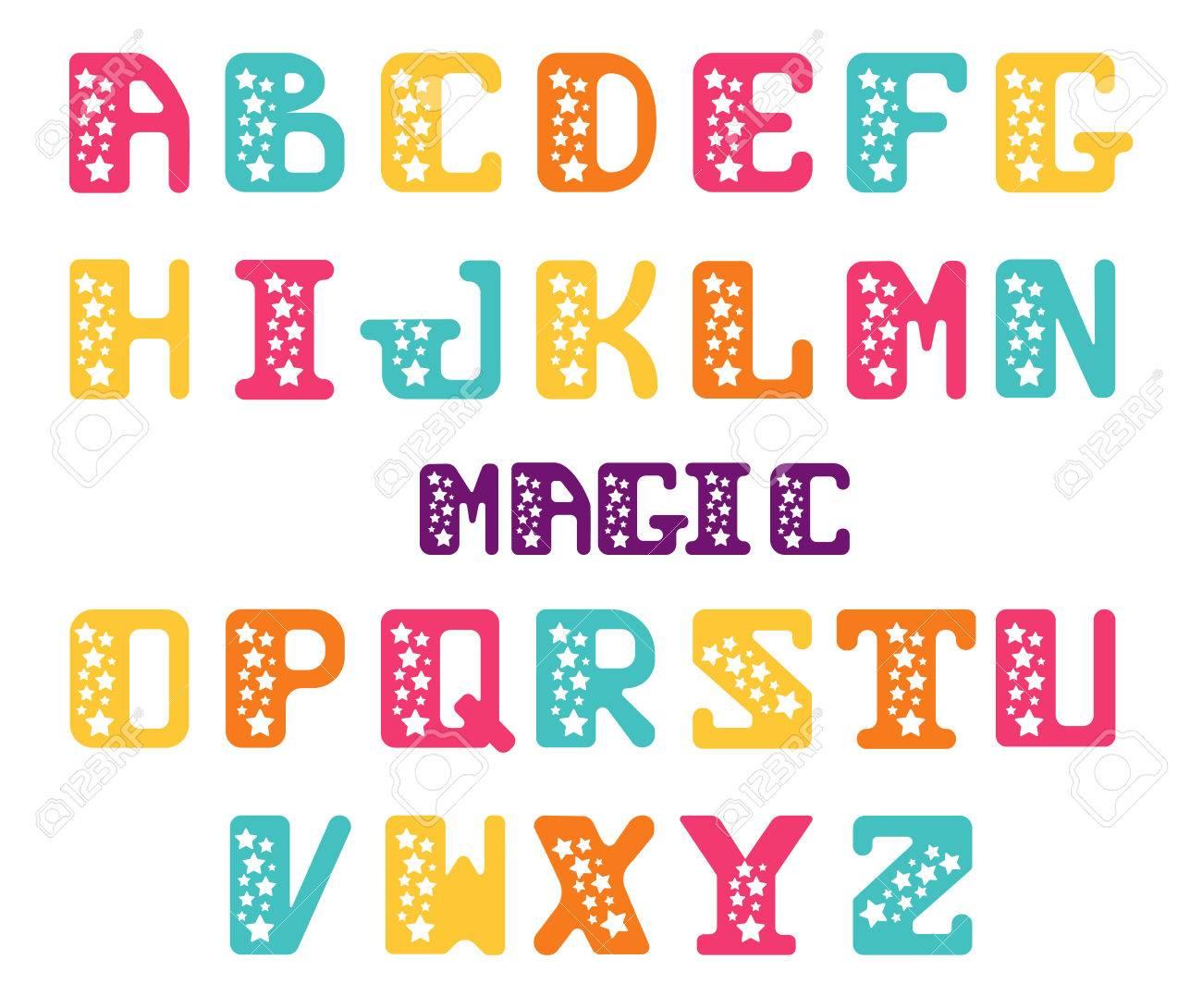 Alfabeto De Letras Mayúsculas Con Las Estrellas Estrella Serif Conjunto De Cartas Para La Decoración De Carteles O Invitaciones Festivas