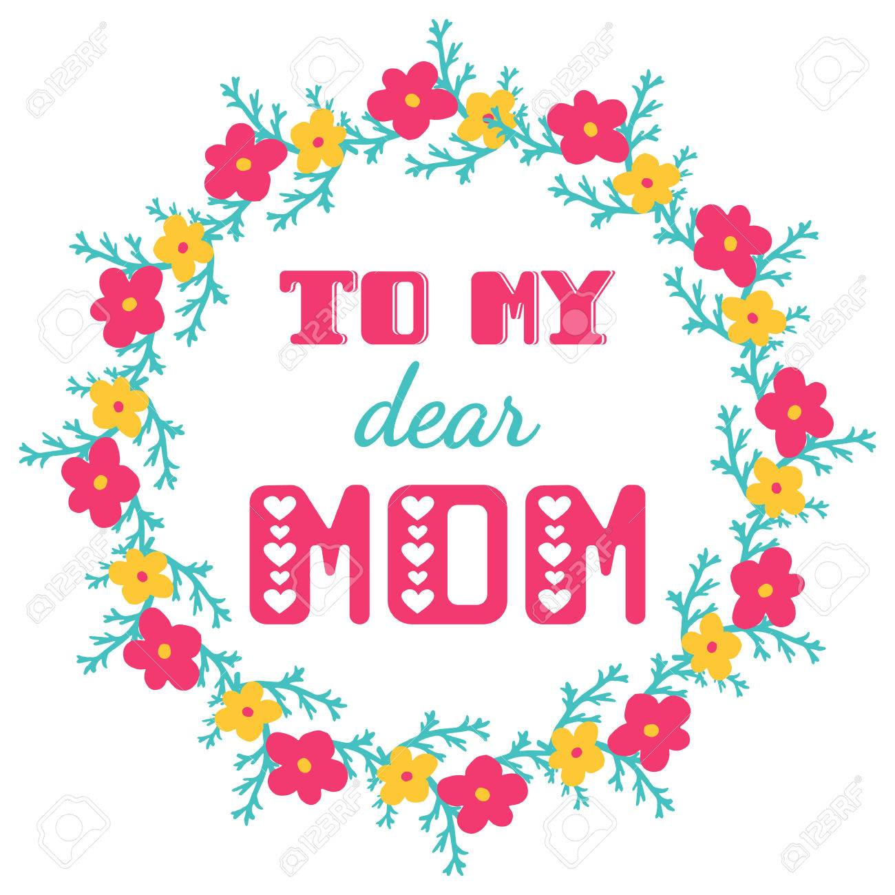 To my dear mom greeting cards inscription for mothers day royalty to my dear mom greeting cards inscription for mothers day stock vector 56654843 m4hsunfo