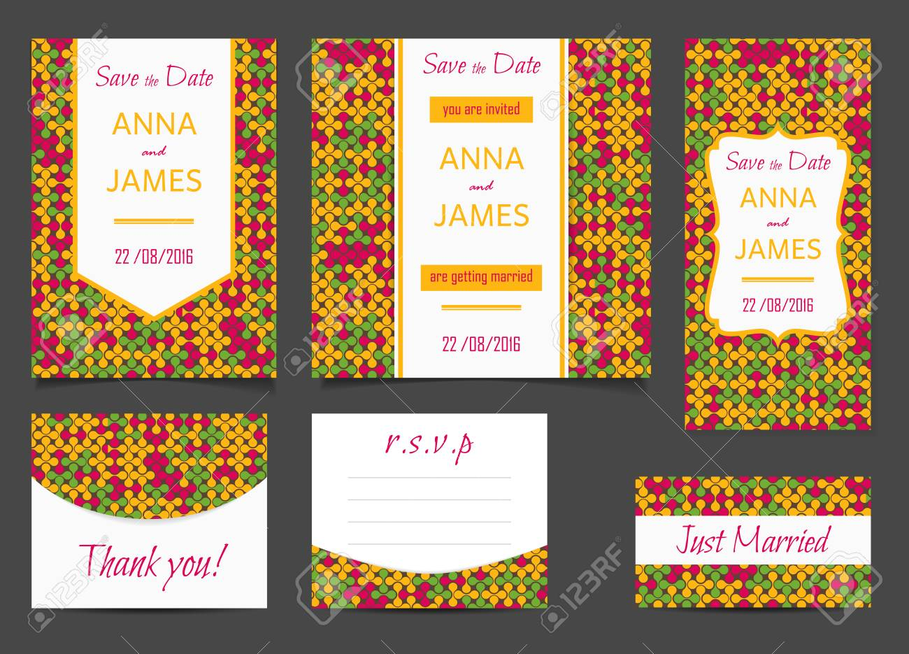 Beautiful Wedding Set Of Printed Materials With A Abstract Design