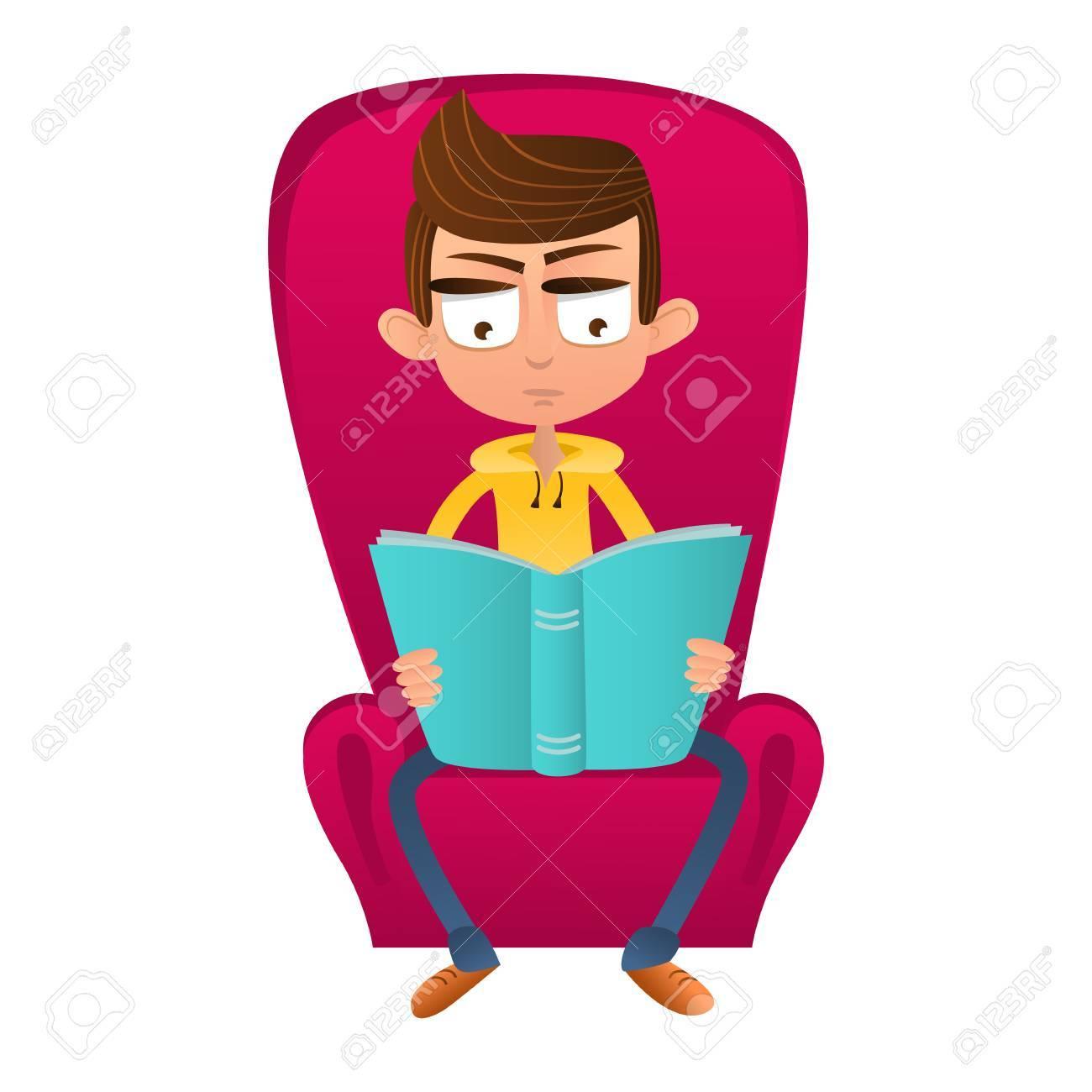 Garcon Intelligent Assis Sur Une Chaise Et Lire Un Style De Dessin Anime De Livre