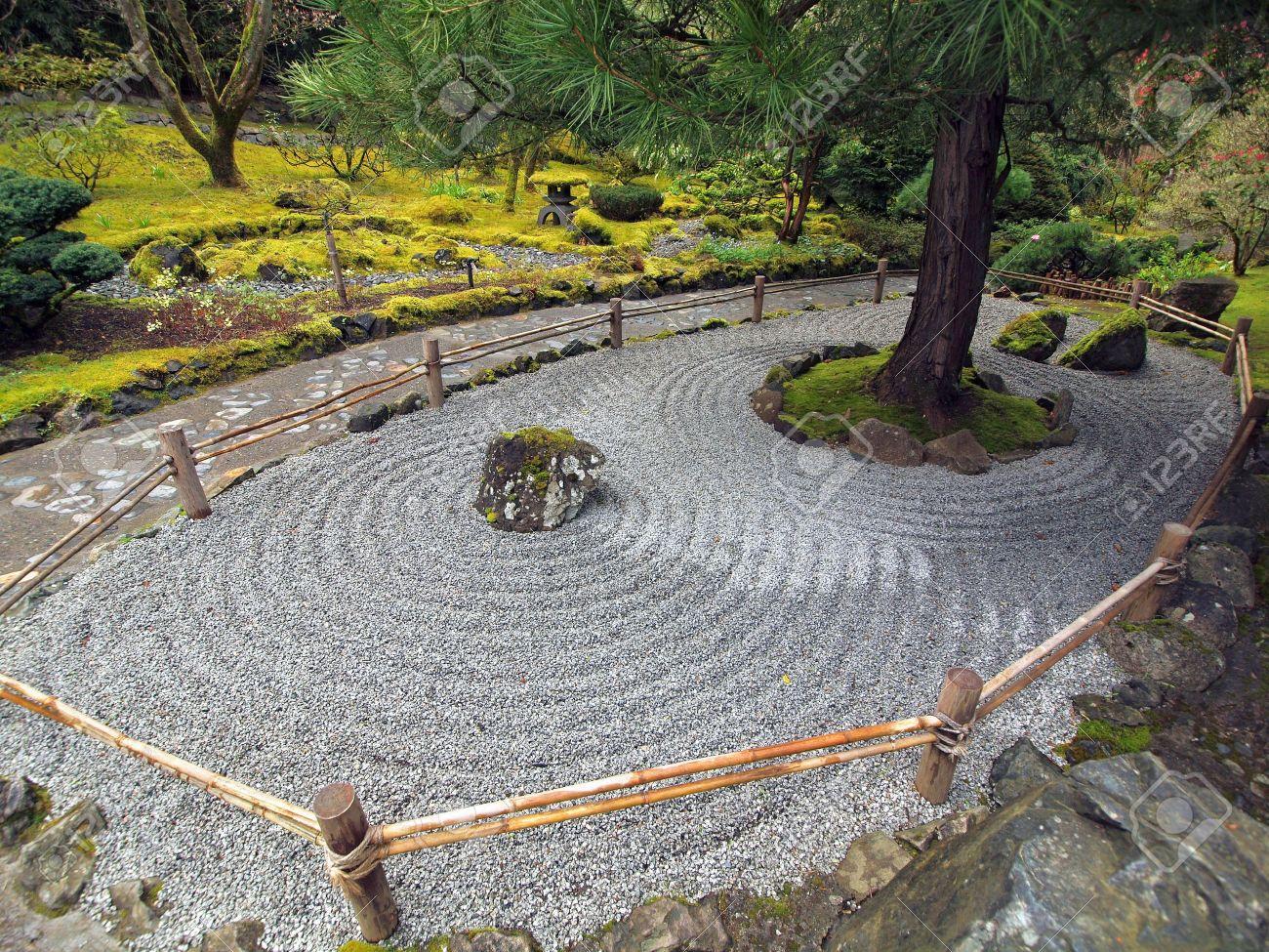Ordinaire Arrangement Of Stones And Gravel Create Traditional Japanese Stone Garden  Stock Photo   6821183