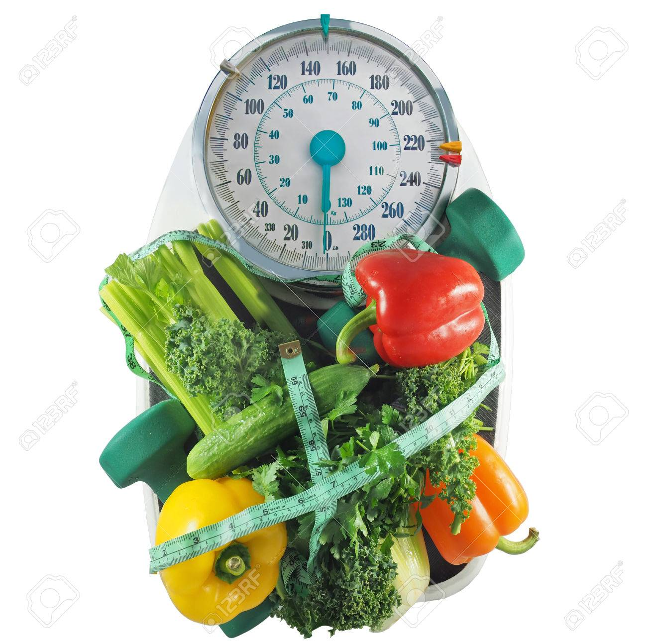 Astonishing Vegetables On A Bathroom Scale With Dumbbells Measuring Tape Download Free Architecture Designs Scobabritishbridgeorg