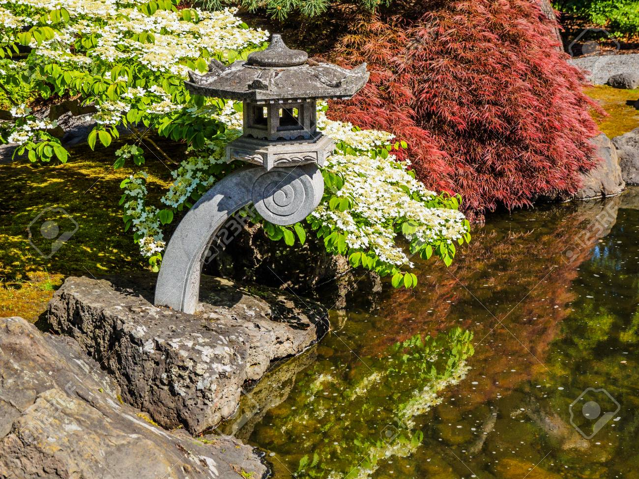 Japanese Garden Design With Water Stream And Traditional Ornaments Stock  Photo   79398084