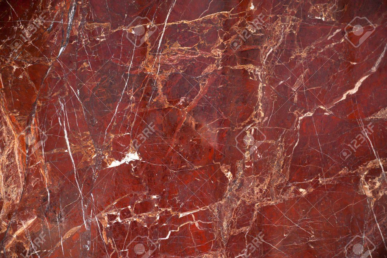 Red Marble Onyx Texture With Brown And White Stripes Cracks Stock Photo