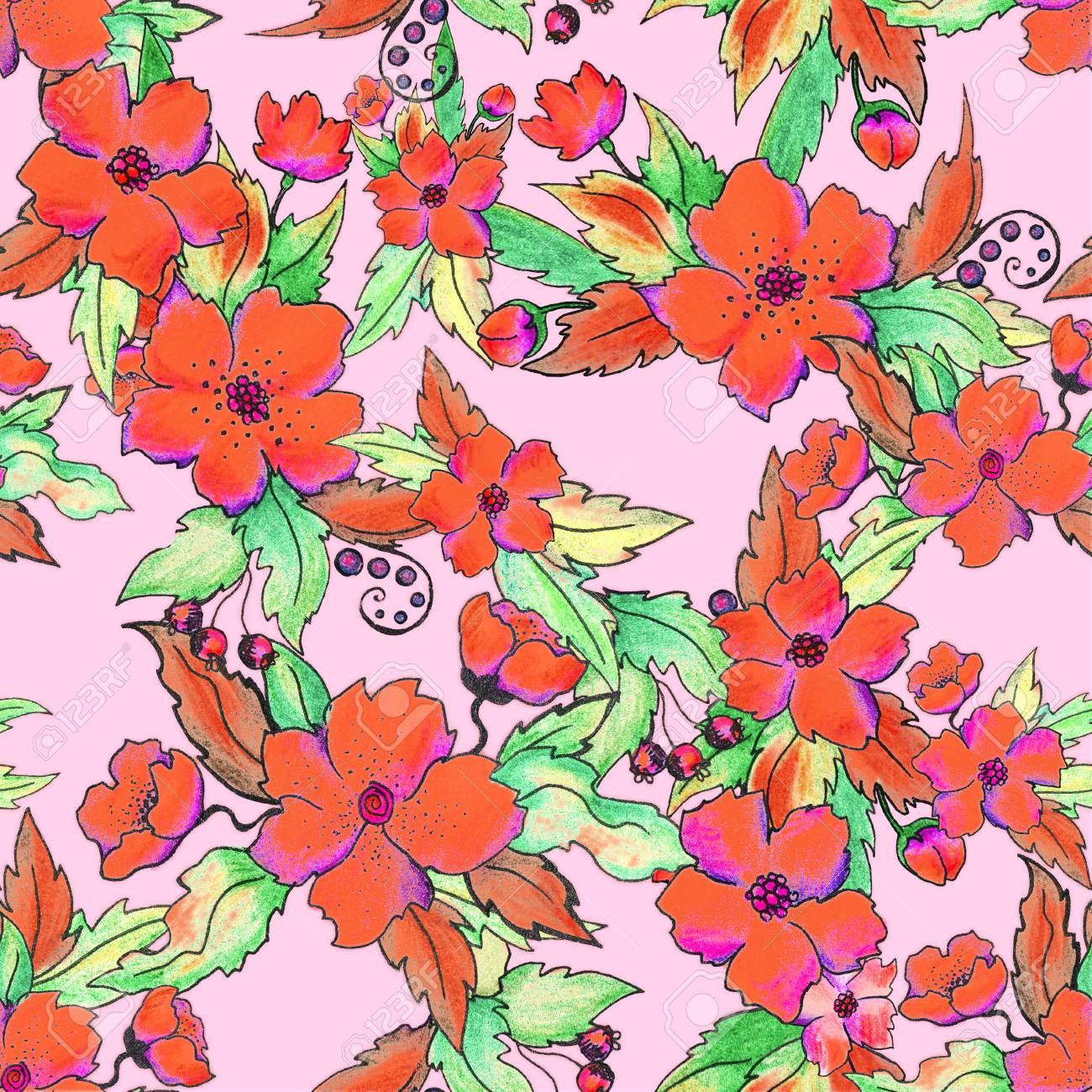 Pencil Illustration Of Exotic Hawaiian Tropical Flower Hibiscus