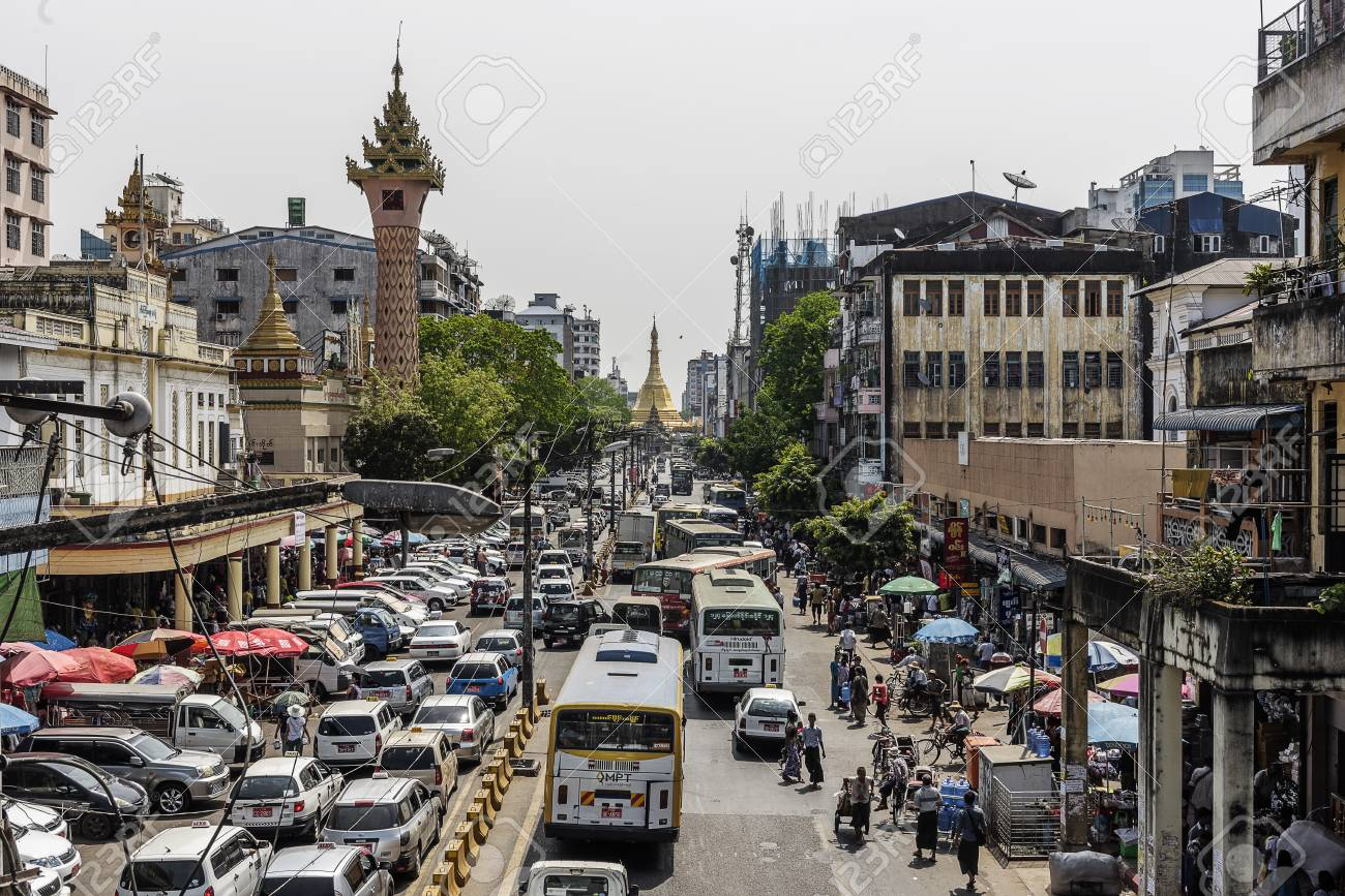 Yangon Myanmar 2016: Busy Downtown Street View In Yangon And ...