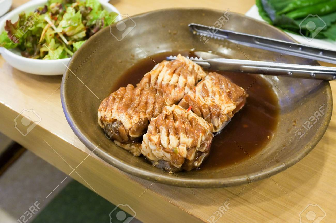 Grilled Galbi Or Pork Calbi And Kalbi With Side Dish Vegetable Stock Photo Picture And Royalty Free Image Image 93218297