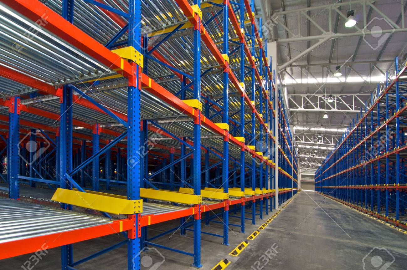 Warehouse Shelving Storage Inside View Of Metal Pallet Racking