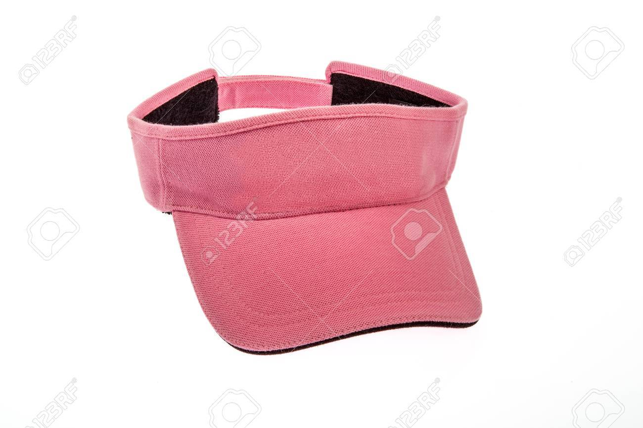 Adult pink golf visor on white background Stock Photo - 61493027 661bfdc2c11
