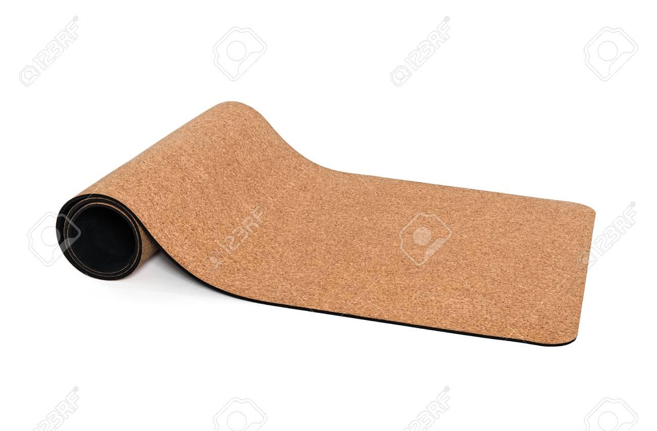 Yoga Mat Premium Cork Non slip Eco Friendly on White Background - 71553821