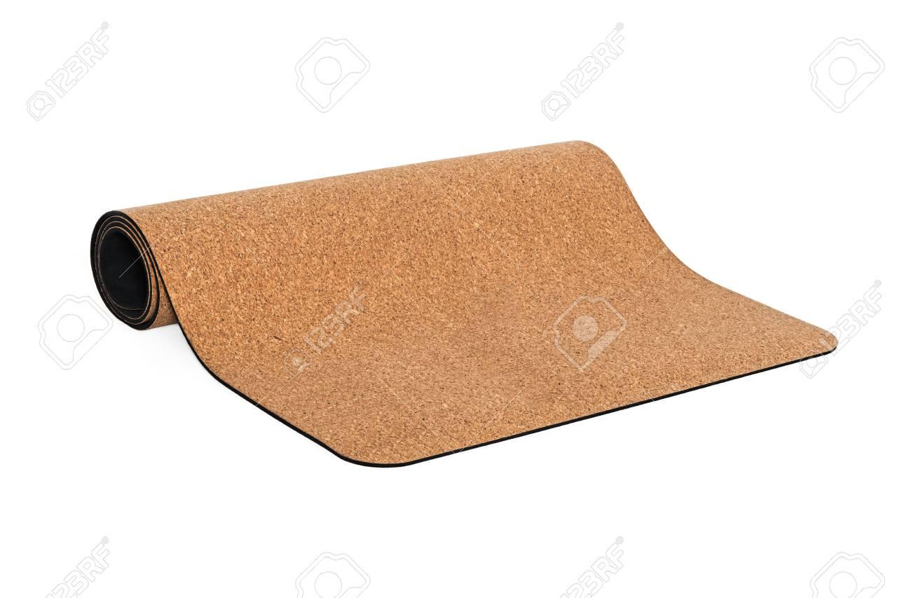 Yoga Cork Mat Premium Product Eco Friendly on White Background - 71726286