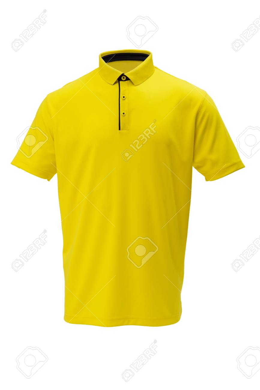 Yellow with black trim golf tee shirt for man or woman on white background - 70641044