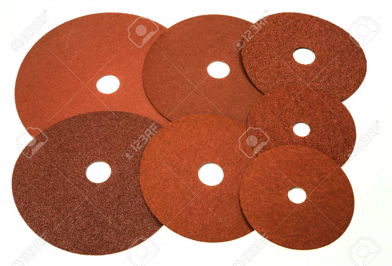 Sandpaper for industrial and home use in different sizes and thickness on white background - 74305135
