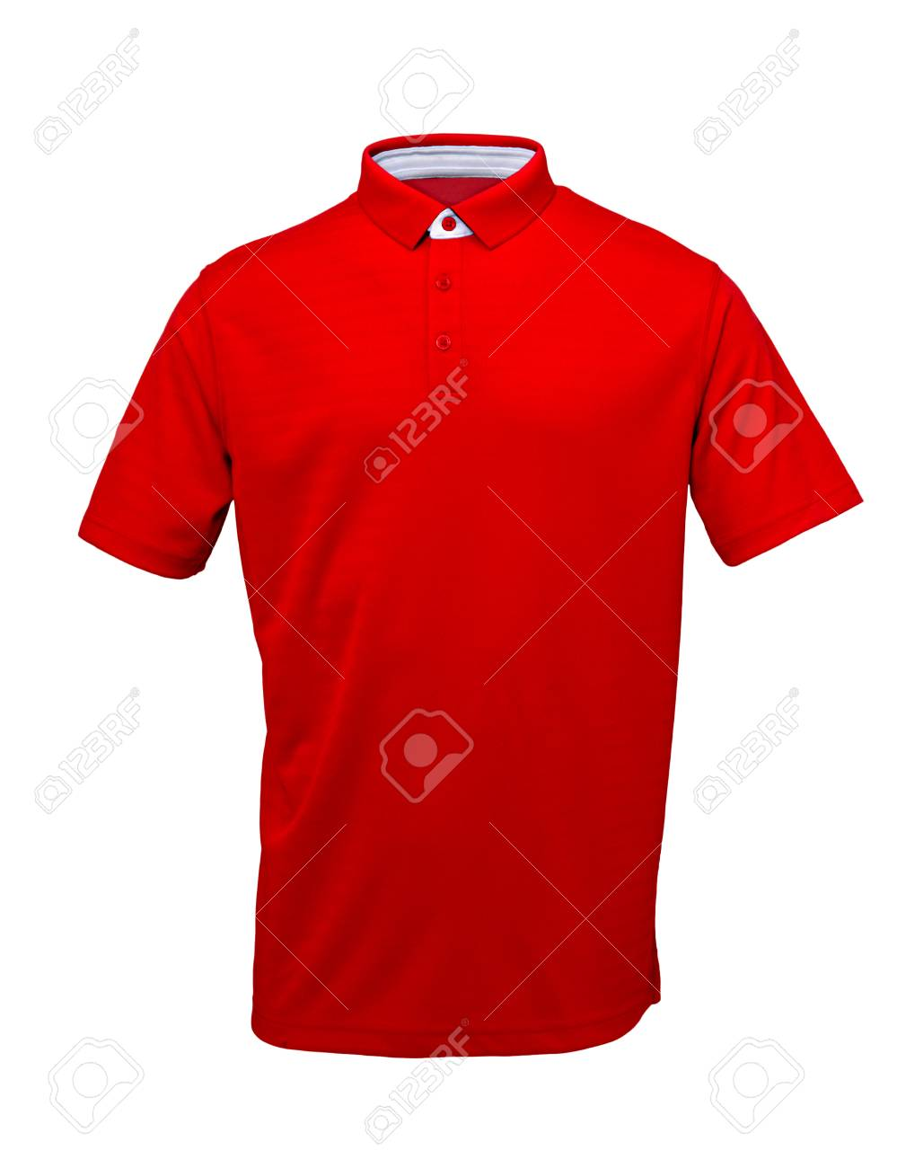 Red golf tee shirt with with white collar on white background - 74329297